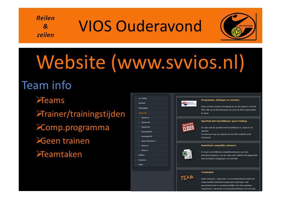 VIOS Ouderavond Website (www.svvios.nl) Team info  Teams  Trainer/trainingstijden  Comp.programma  Geen trainen  Teamtaken Reilen & zeilen