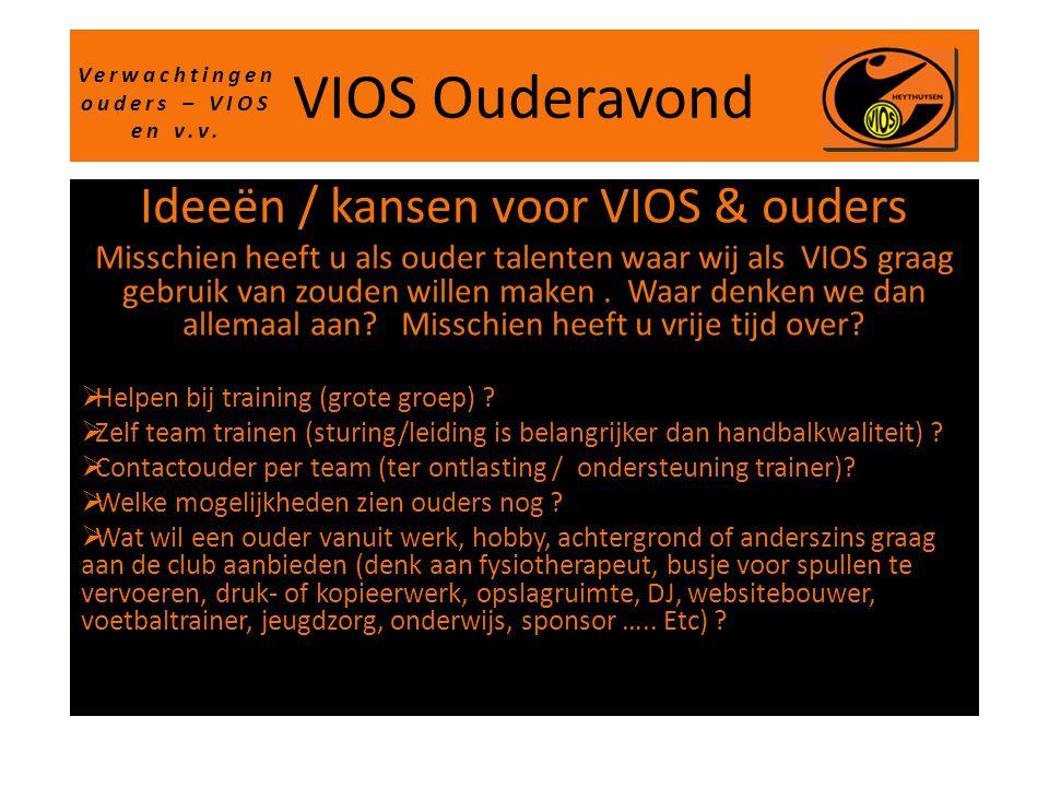 VIOS Ouderavond Ideeën / kansen voor VIOS & ouders Misschien heeft u als ouder talenten waar wij als VIOS graag gebruik van zouden willen maken. Waar