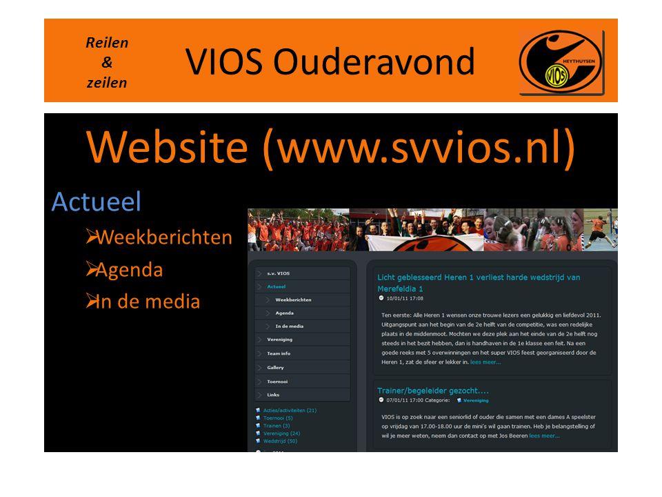VIOS Ouderavond Website (www.svvios.nl) Actueel  Weekberichten  Agenda  In de media Reilen & zeilen