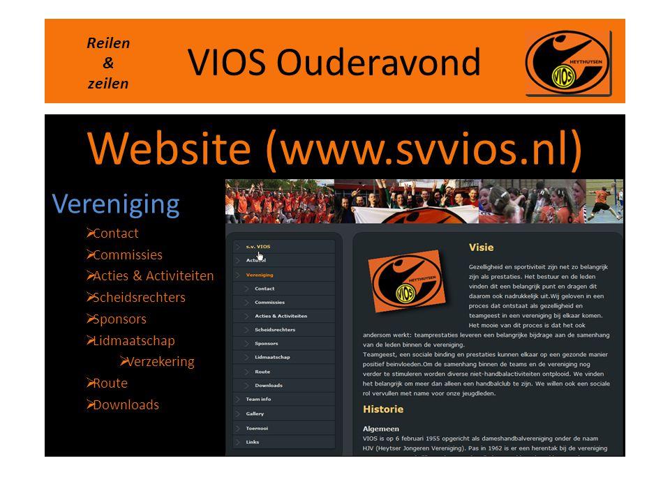 VIOS Ouderavond Website (www.svvios.nl) Vereniging  Contact  Commissies  Acties & Activiteiten  Scheidsrechters  Sponsors  Lidmaatschap  Verzek