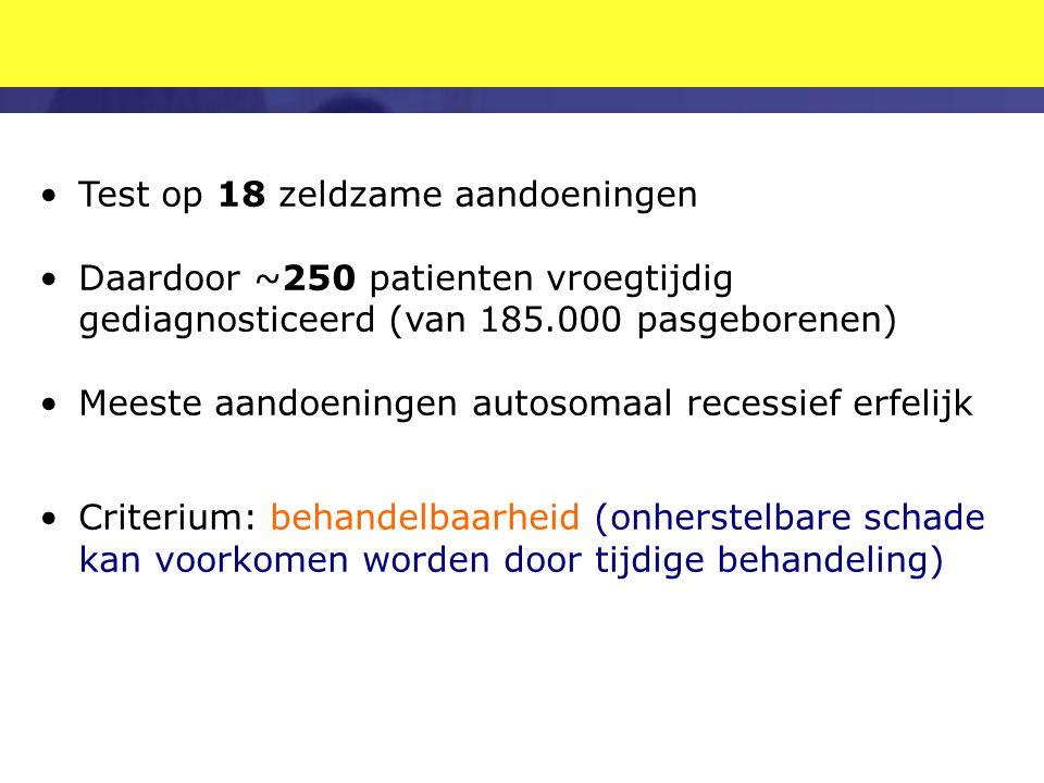 •Test op 18 zeldzame aandoeningen •Daardoor ~250 patienten vroegtijdig gediagnosticeerd (van 185.000 pasgeborenen) •Meeste aandoeningen autosomaal rec