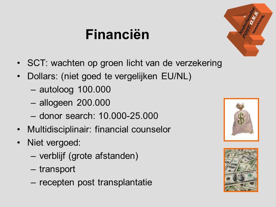 Financiën •SCT: wachten op groen licht van de verzekering •Dollars: (niet goed te vergelijken EU/NL) –autoloog 100.000 –allogeen 200.000 –donor search
