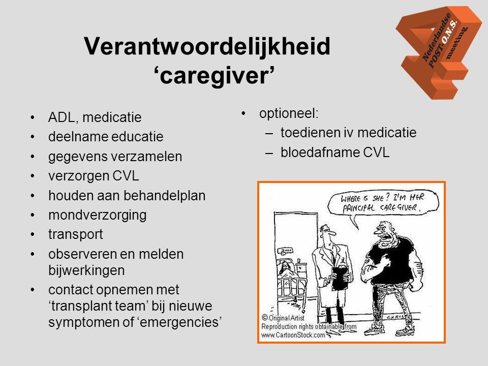 Verantwoordelijkheid 'caregiver' •ADL, medicatie •deelname educatie •gegevens verzamelen •verzorgen CVL •houden aan behandelplan •mondverzorging •tran