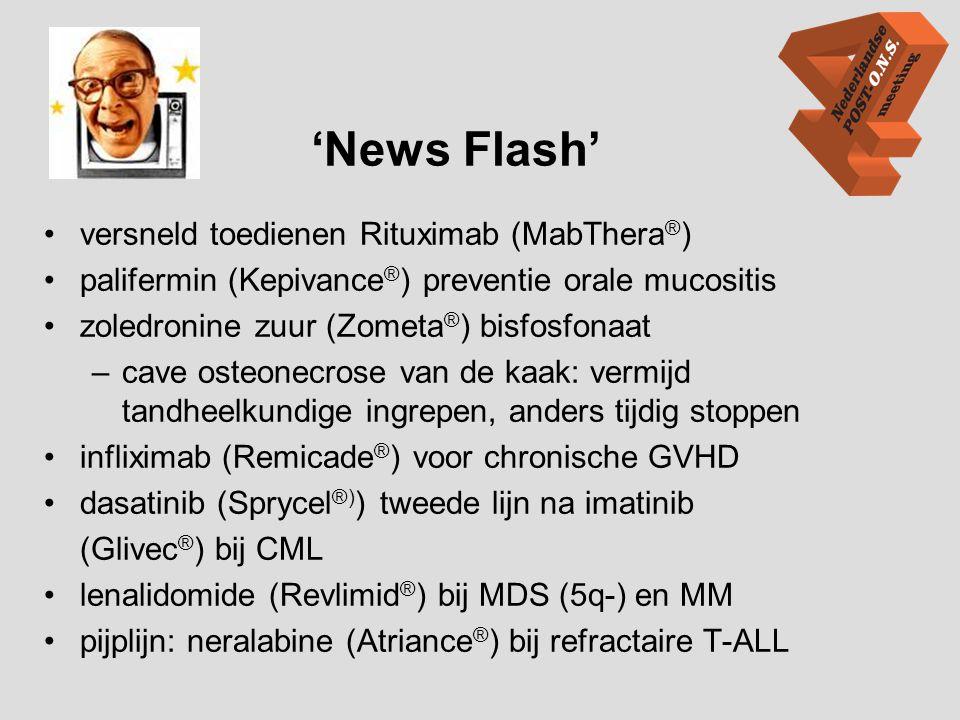 'News Flash' •versneld toedienen Rituximab (MabThera ® ) •palifermin (Kepivance ® ) preventie orale mucositis •zoledronine zuur (Zometa ® ) bisfosfona