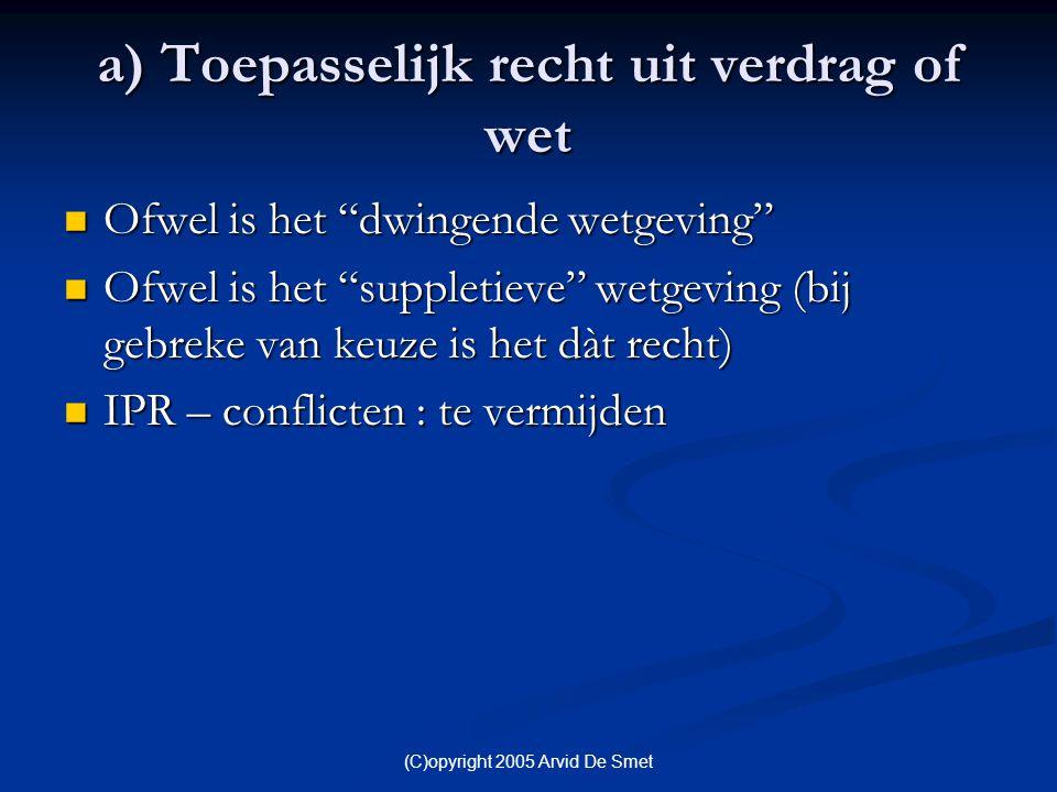 """(C)opyright 2005 Arvid De Smet a) Toepasselijk recht uit verdrag of wet  Ofwel is het """"dwingende wetgeving""""  Ofwel is het """"suppletieve"""" wetgeving (b"""