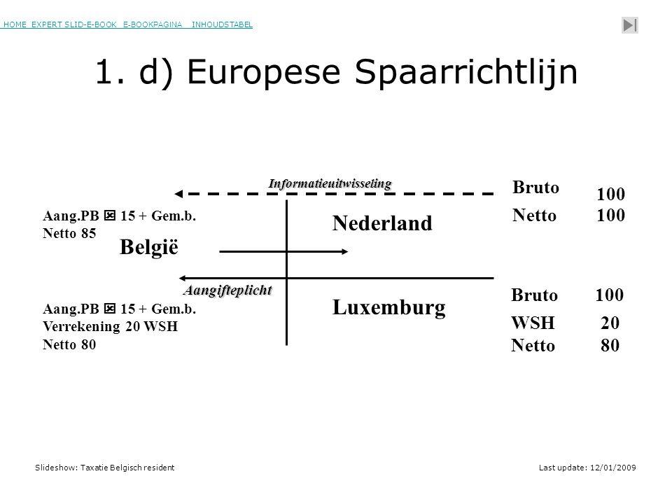 HOME EXPERT SLID-E-BOOK E-BOOKPAGINA INHOUDSTABELHOMEEXPERT SLID-E-BOOK E-BOOKPAGINAINHOUDSTABEL Slideshow: Taxatie Belgisch residentLast update: 12/01/2009 België Nederland Luxemburg 100 Bruto Netto100 Aangifteplicht Bruto100 Netto80 20WSH Informatieuitwisseling Aang.PB  15 + Gem.b.