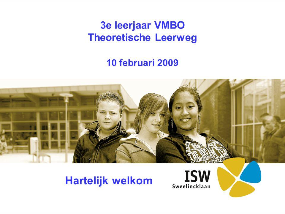 3e leerjaar VMBO Theoretische Leerweg 10 februari 2009 Hartelijk welkom