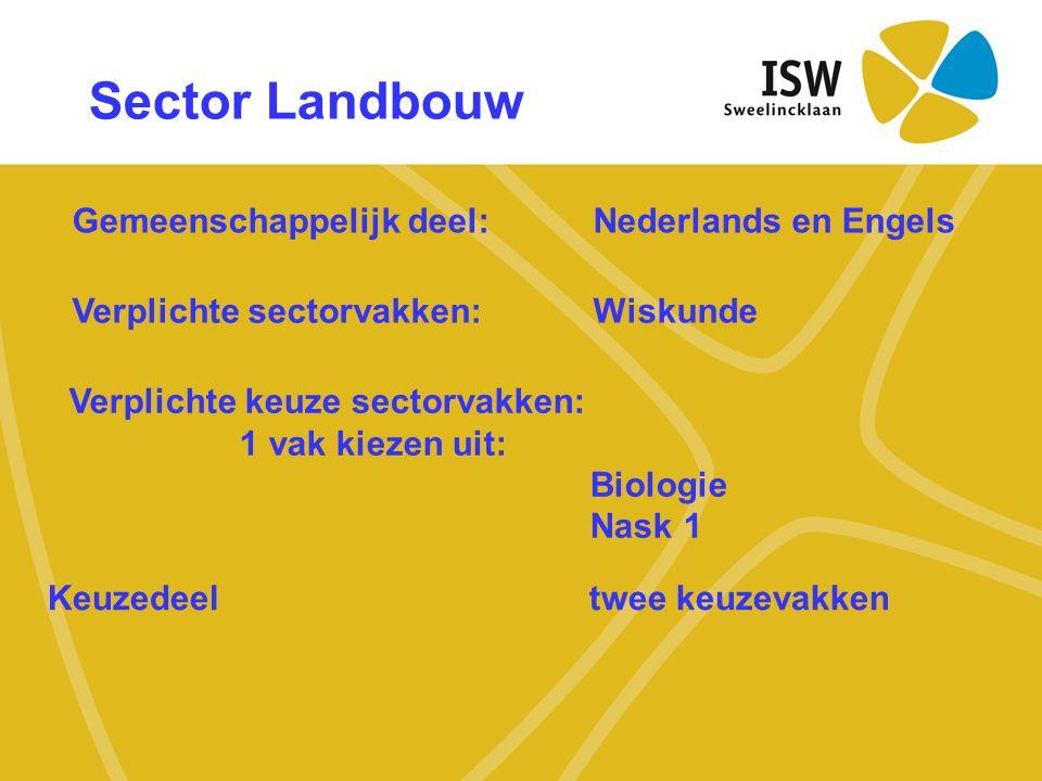 Sector Landbouw Gemeenschappelijk deel:Nederlands en Engels Verplichte sectorvakken: Wiskunde Verplichte keuze sectorvakken: 1 vak kiezen uit: Biologi