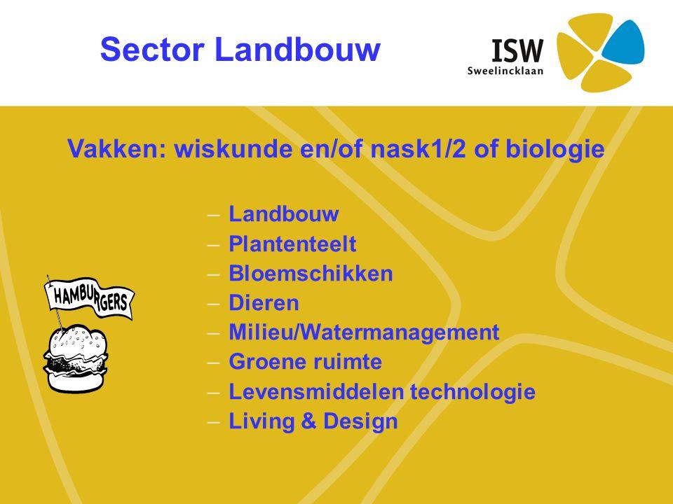 Sector Landbouw –Landbouw –Plantenteelt –Bloemschikken –Dieren –Milieu/Watermanagement –Groene ruimte –Levensmiddelen technologie –Living & Design Vak