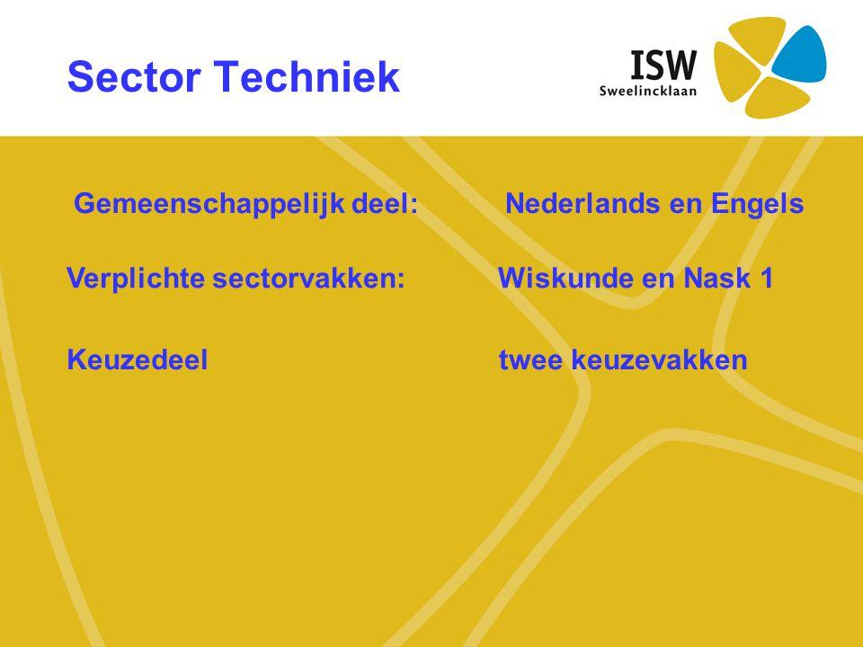Sector Techniek Gemeenschappelijk deel:Nederlands en Engels Verplichte sectorvakken: Wiskunde en Nask 1 Keuzedeel twee keuzevakken