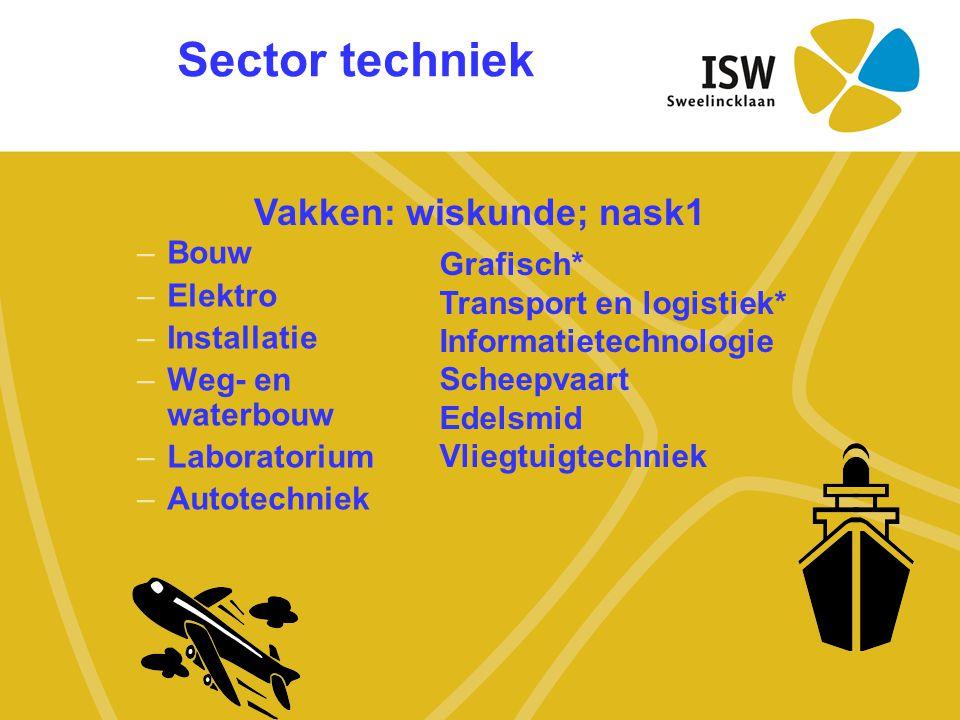 Sector techniek –Bouw –Elektro –Installatie –Weg- en waterbouw –Laboratorium –Autotechniek Vakken: wiskunde; nask1 Grafisch* Transport en logistiek* I