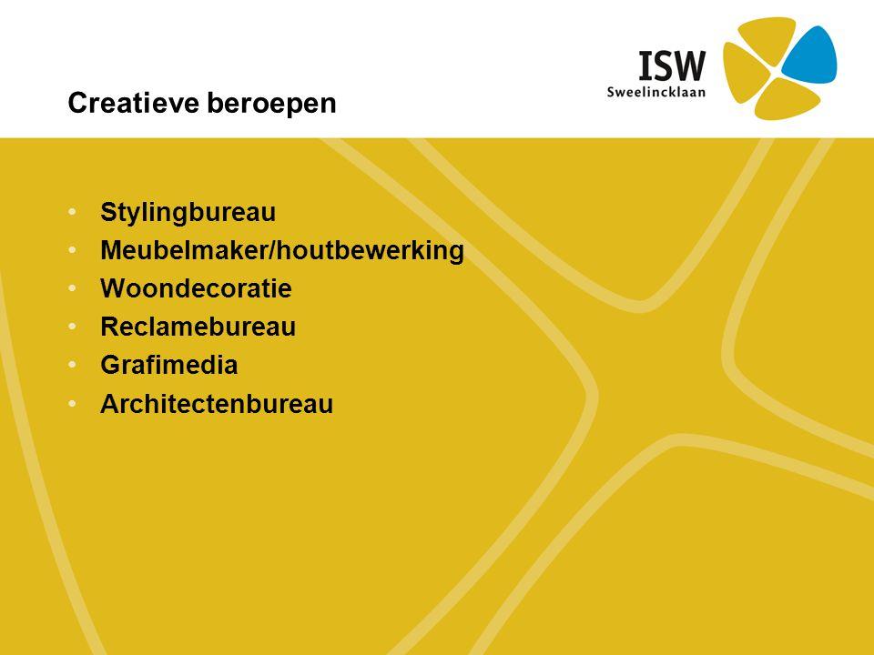 •Stylingbureau •Meubelmaker/houtbewerking •Woondecoratie •Reclamebureau •Grafimedia •Architectenbureau Creatieve beroepen