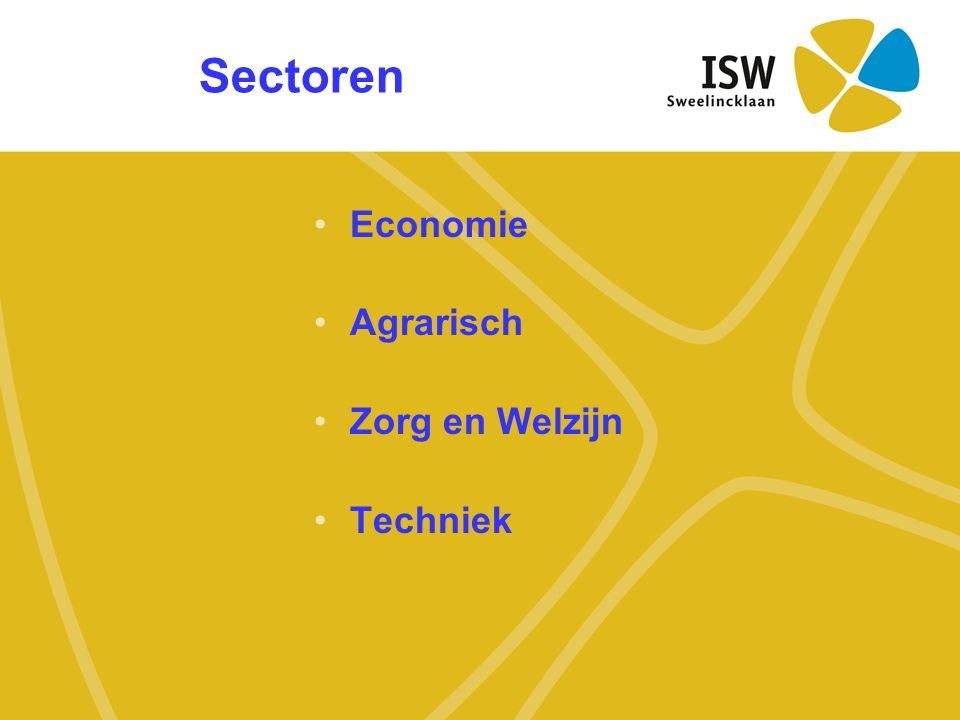 Sectoren •Economie •Agrarisch •Zorg en Welzijn •Techniek