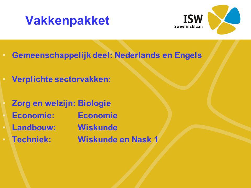 Vakkenpakket •Gemeenschappelijk deel: Nederlands en Engels •Verplichte sectorvakken: •Zorg en welzijn: Biologie •Economie: Economie •Landbouw: Wiskund