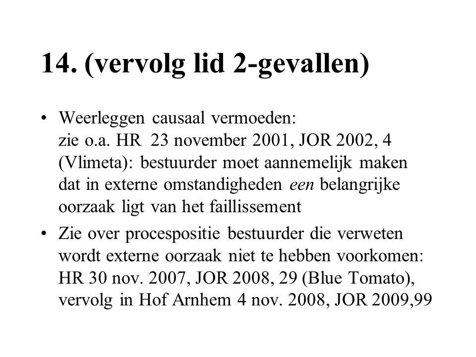 14. (vervolg lid 2-gevallen) •Weerleggen causaal vermoeden: zie o.a. HR 23 november 2001, JOR 2002, 4 (Vlimeta): bestuurder moet aannemelijk maken dat