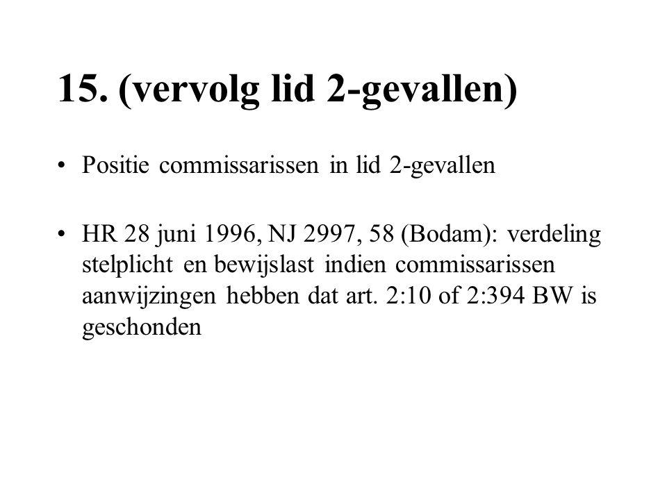 15. (vervolg lid 2-gevallen) •Positie commissarissen in lid 2-gevallen •HR 28 juni 1996, NJ 2997, 58 (Bodam): verdeling stelplicht en bewijslast indie