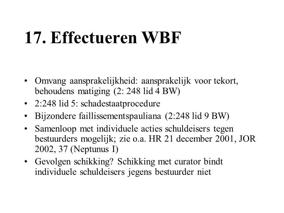 17. Effectueren WBF •Omvang aansprakelijkheid: aansprakelijk voor tekort, behoudens matiging (2: 248 lid 4 BW) •2:248 lid 5: schadestaatprocedure •Bij