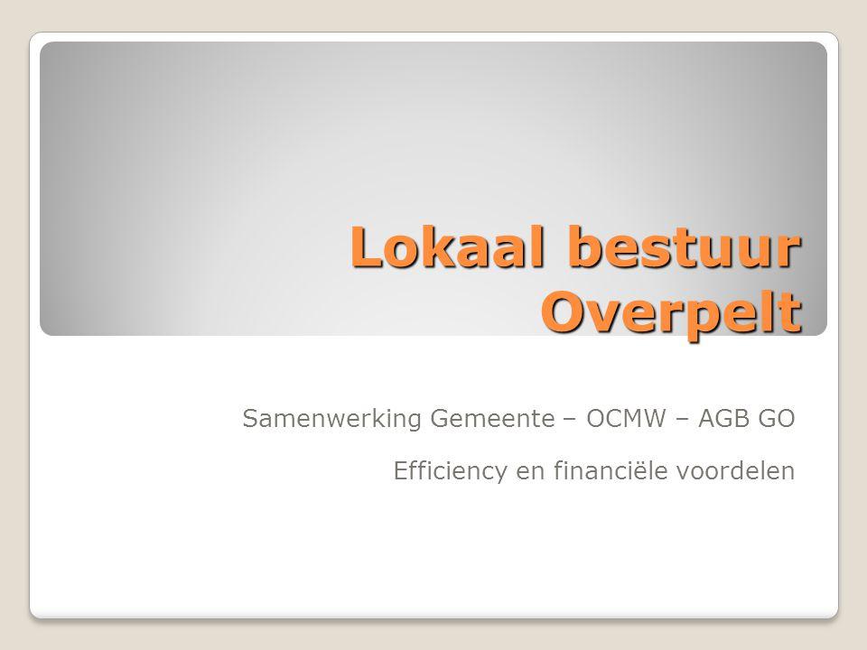 Lokaal bestuur Overpelt Samenwerking Gemeente – OCMW – AGB GO Efficiency en financiële voordelen