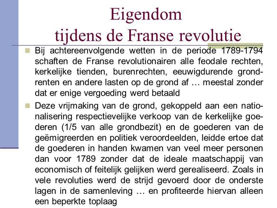 Eigendom tijdens de Franse revolutie  Bij achtereenvolgende wetten in de periode 1789-1794 schaften de Franse revolutionairen alle feodale rechten, k