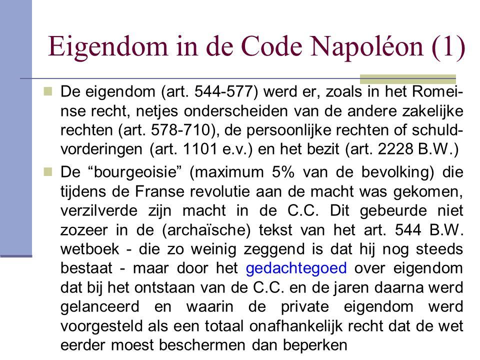 Eigendom in de Code Napoléon (1)  De eigendom (art. 544-577) werd er, zoals in het Romei- nse recht, netjes onderscheiden van de andere zakelijke rec