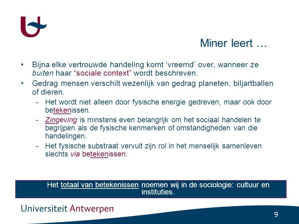 9 Miner leert … •Bijna elke vertrouwde handeling komt 'vreemd' over, wanneer ze buiten haar sociale context wordt beschreven.