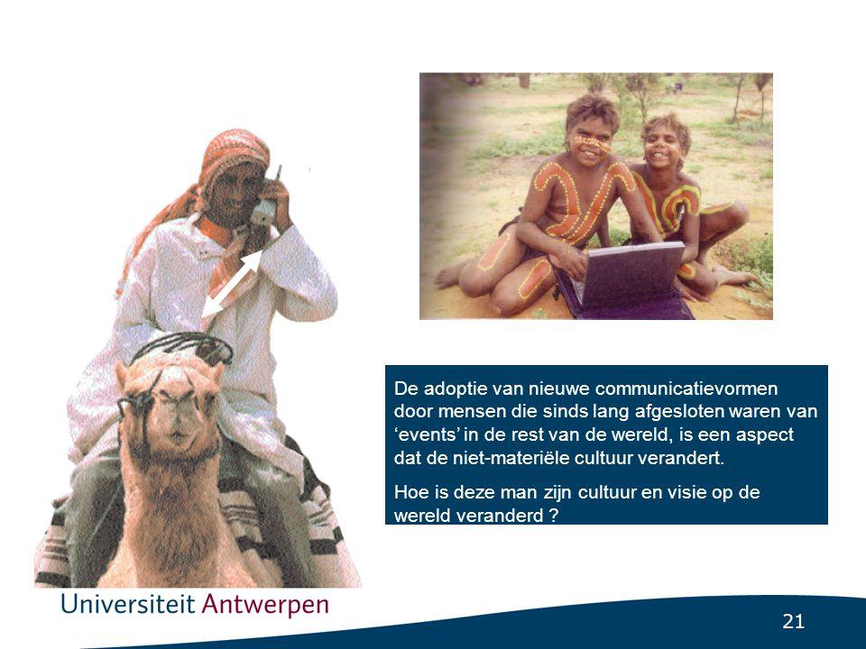 21 Cultural lag De adoptie van nieuwe communicatievormen door mensen die sinds lang afgesloten waren van 'events' in de rest van de wereld, is een aspect dat de niet-materiële cultuur verandert.