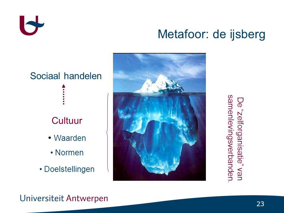 23 Sociaal handelen Cultuur • Waarden • Normen • Doelstellingen Metafoor: de ijsberg De zelforganisatie van samenlevingsverbanden.