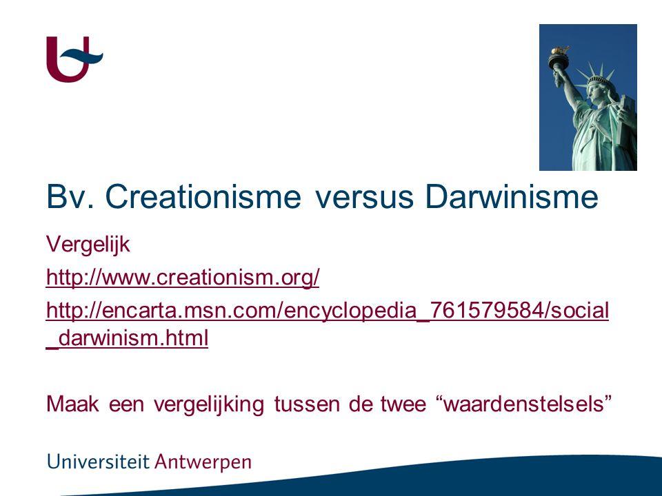 Bv. Creationisme versus Darwinisme Vergelijk http://www.creationism.org/ http://encarta.msn.com/encyclopedia_761579584/social _darwinism.html Maak een