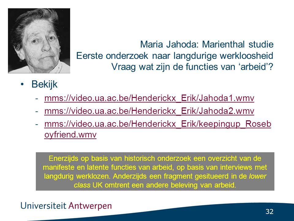32 Maria Jahoda: Marienthal studie Eerste onderzoek naar langdurige werkloosheid Vraag wat zijn de functies van 'arbeid'.