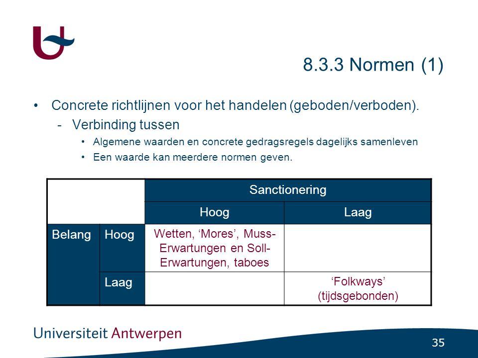 35 8.3.3 Normen (1) •Concrete richtlijnen voor het handelen (geboden/verboden).