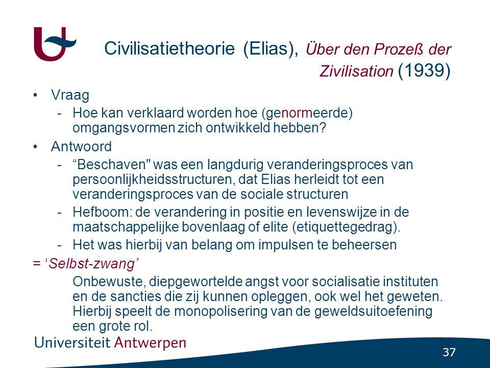 37 Civilisatietheorie (Elias), Über den Prozeß der Zivilisation (1939) •Vraag -Hoe kan verklaard worden hoe (genormeerde) omgangsvormen zich ontwikkeld hebben.