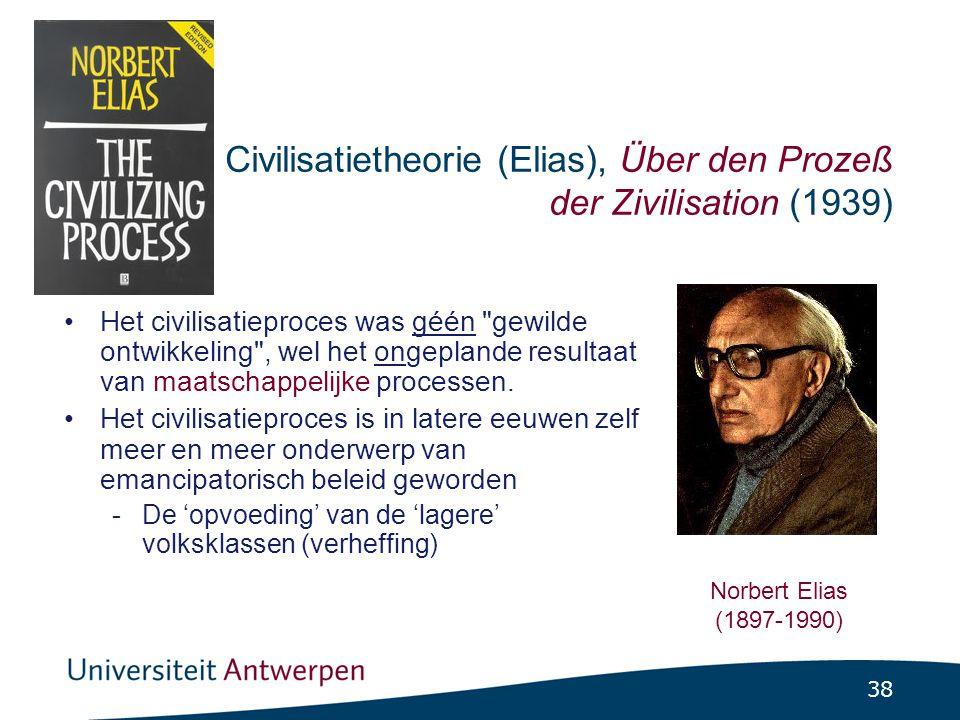 38 Civilisatietheorie (Elias), Über den Prozeß der Zivilisation (1939) •Het civilisatieproces was géén gewilde ontwikkeling , wel het ongeplande resultaat van maatschappelijke processen.