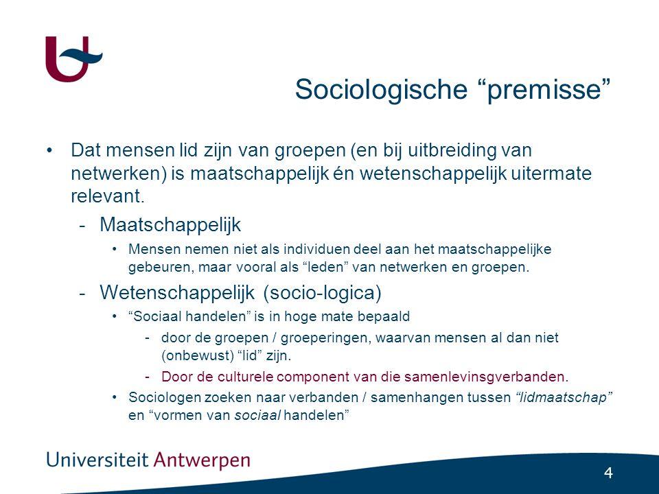4 Sociologische premisse •Dat mensen lid zijn van groepen (en bij uitbreiding van netwerken) is maatschappelijk én wetenschappelijk uitermate relevant.