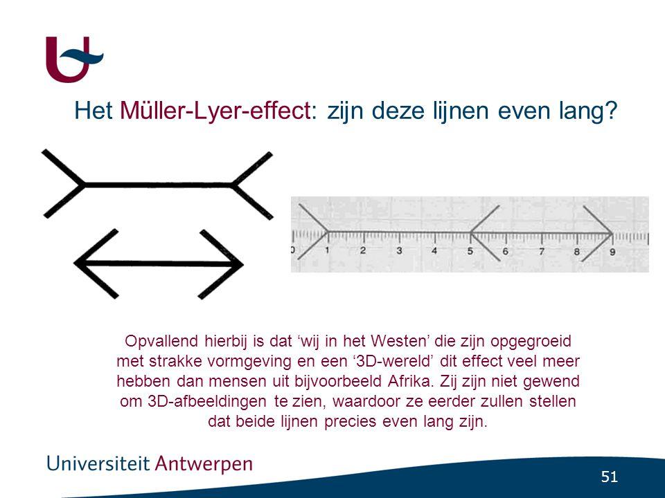 51 Het Müller-Lyer-effect: zijn deze lijnen even lang.