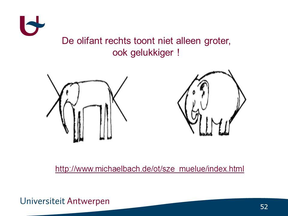 52 De olifant rechts toont niet alleen groter, ook gelukkiger .