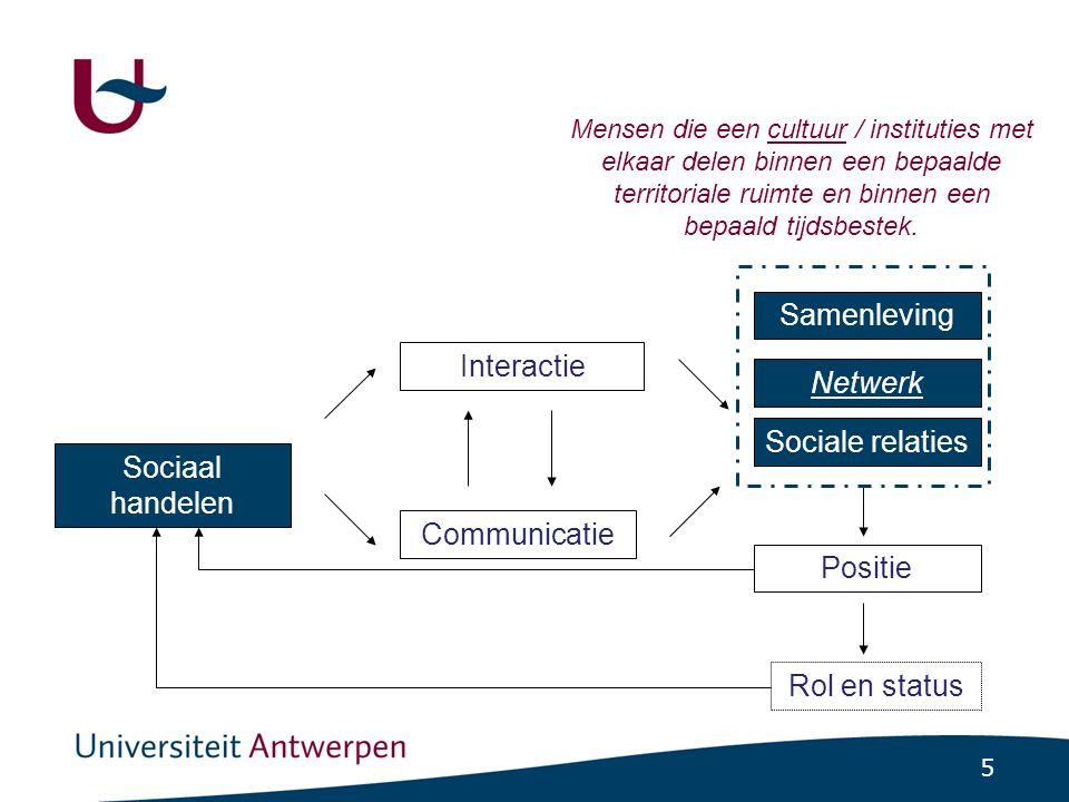 6 Twee dimensies binnen sociale handelen •Positionele dimensie -'Plaatsen' binnen samenlevingsverband en verbindingen tussen mensen •Zichtbaar via interactie en communicatie, vaak gevolgd door relaties -Geheel posities •= sociale netwerk (volgend hoofdstuk) •Culturele dimensie (dit hoofdstuk) -'Zin' die mensen geven aan sociale handelen en sociale verbanden ('verstehen') •Uitdrukking cultuurpatronen (gestructureerde gehelen van waarden, normen, verwachtingen en doelstellingen) Netwerken en cultuurpatronen zijn altijd met elkaar verbonden.