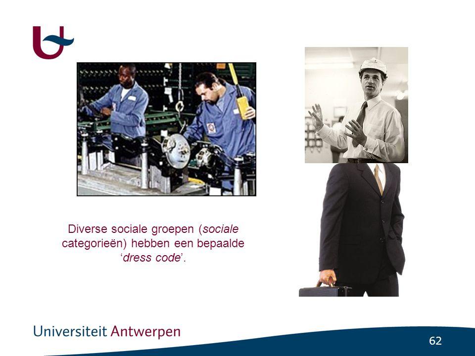 62 Diverse sociale groepen (sociale categorieën) hebben een bepaalde 'dress code'.