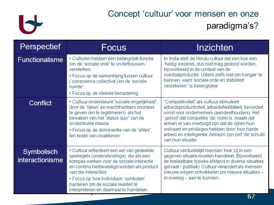 67 Concept 'cultuur' voor mensen en onze paradigma's.