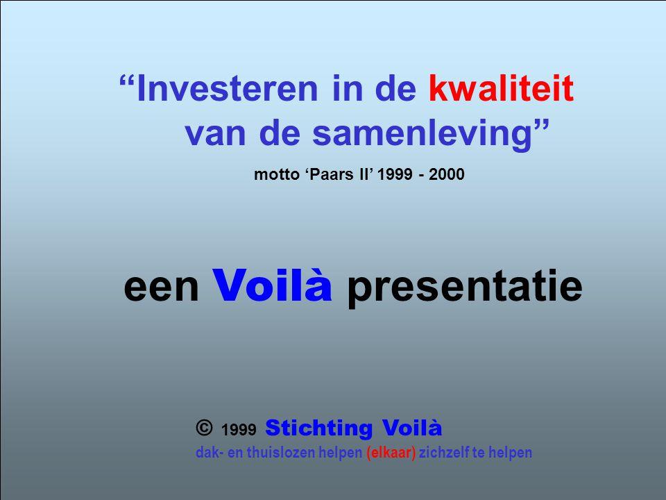 een Voilà presentatie © 1999 Stichting Voilà dak- en thuislozen helpen (elkaar) zichzelf te helpen Investeren in de kwaliteit van de samenleving motto 'Paars II' 1999 - 2000