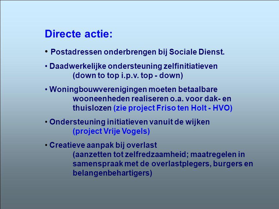 Directe actie: • Postadressen onderbrengen bij Sociale Dienst. • Daadwerkelijke ondersteuning zelfinitiatieven (down to top i.p.v. top - down) • Wonin