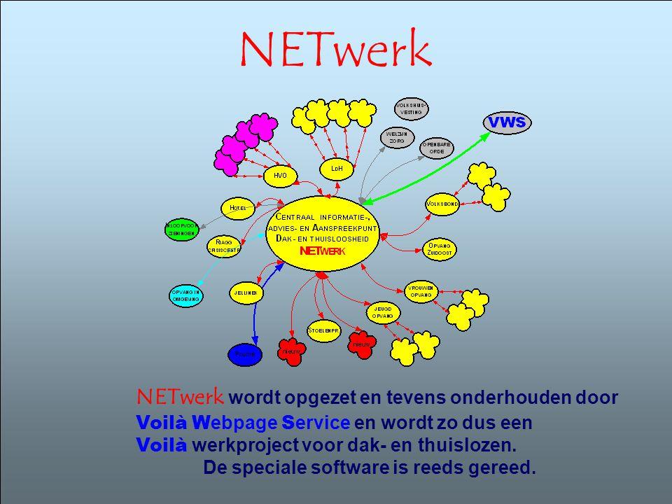 NETwerk NETwerk wordt opgezet en tevens onderhouden door Voilà W ebpage S ervice en wordt zo dus een Voilà werkproject voor dak- en thuislozen. De spe