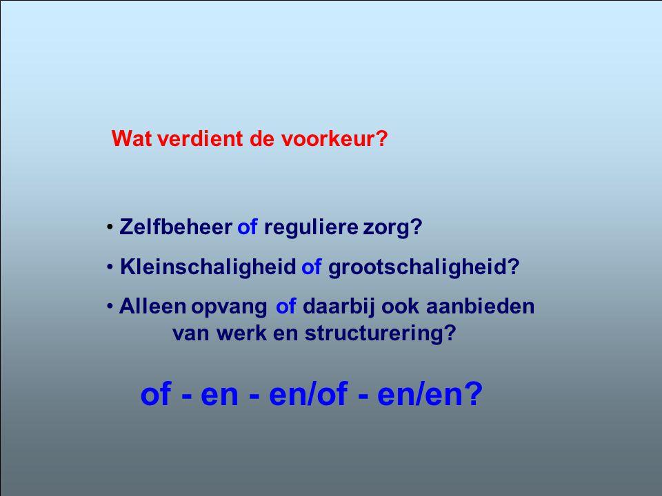 • Zelfbeheer of reguliere zorg? • Kleinschaligheid of grootschaligheid? • Alleen opvang of daarbij ook aanbieden van werk en structurering? Wat verdie