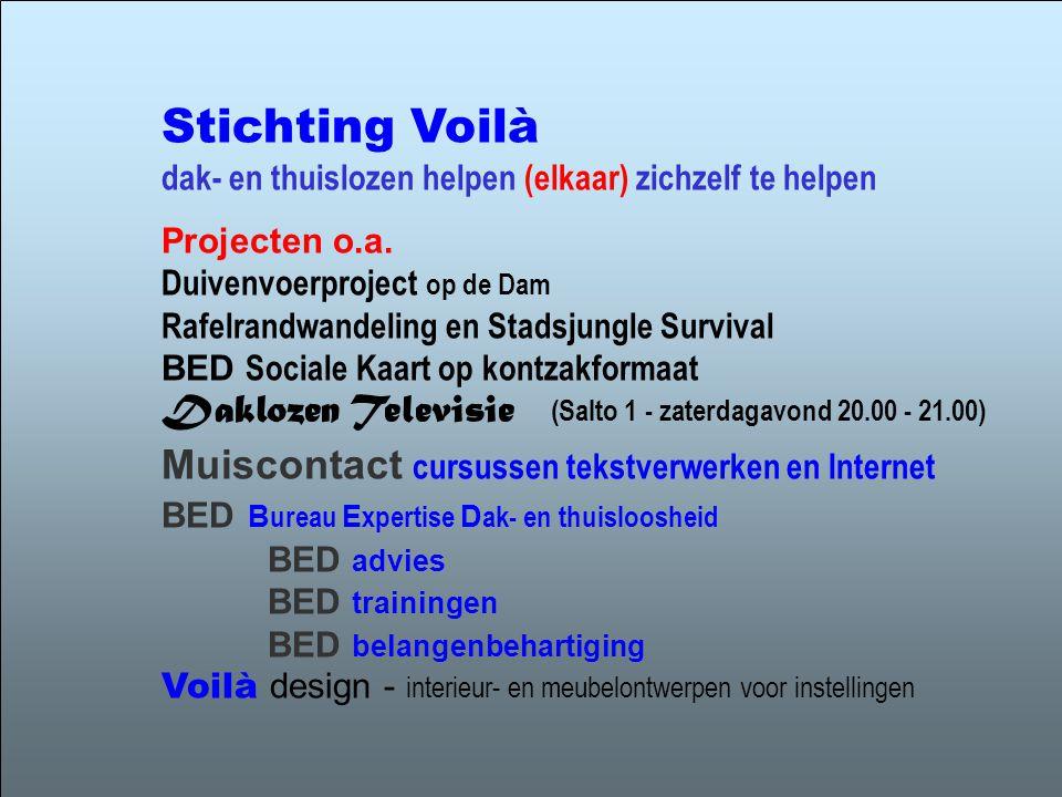 Stichting Voilà dak- en thuislozen helpen (elkaar) zichzelf te helpen Projecten o.a.