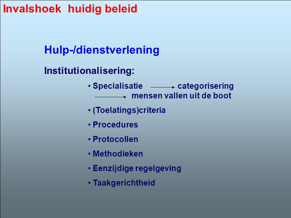 Institutionalisering: • Specialisatie categorisering mensen vallen uit de boot • (Toelatings)criteria • Procedures • Protocollen • Methodieken • Eenzi