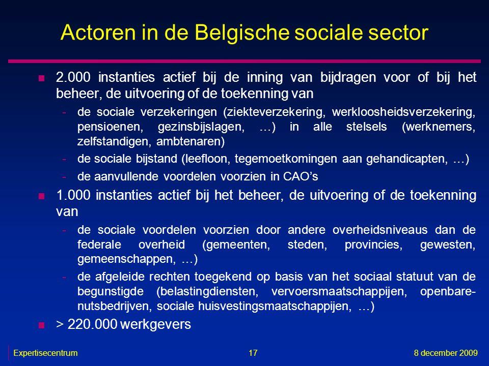 Expertisecentrum8 december 2009 17 Actoren in de Belgische sociale sector n 2.000 instanties actief bij de inning van bijdragen voor of bij het beheer