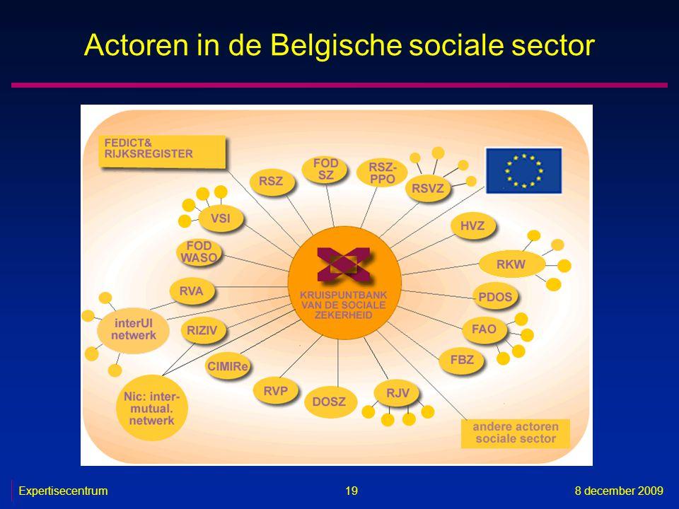 Expertisecentrum8 december 2009 19 Actoren in de Belgische sociale sector