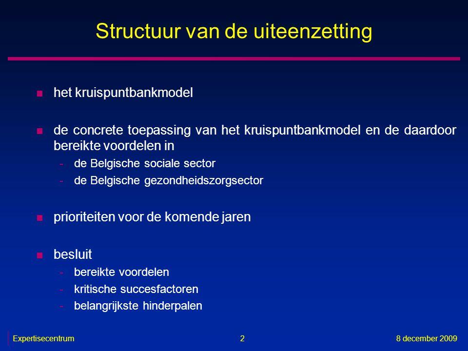 Expertisecentrum8 december 2009 43 Diensten met toegevoegde waarde n in productie -platform voor gegevensuitwisseling tussen het Vlaams Agentschap voor Zorg en Gezondheid en de door haar erkende diensten (VESTA) (basisdiensten 2, 3 en 4) -on line registratiesysteem voor de private voorzieningen uit de sector Bijzondere Jeugdzorg in Vlaanderen (basisdiensten 2, 3 en 4) -on line elektronisch bestellen van getuigschriften voor verstrekte hulp en overeenstemmingsstroken voor de zorgverleners (Medattest) (basisdienst 2) -feedback aan de ziekenhuizen over de door hen geleverde zorgverstrekkingen en de kost ervan (basisdiensten 2, 3 en 4) -codering en anonimisering van persoonsgegevens voor het RIZIV (basisdienst 8)