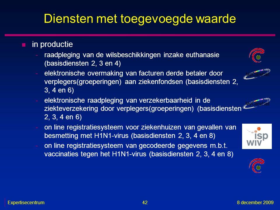 Expertisecentrum8 december 2009 42 Diensten met toegevoegde waarde n in productie -raadpleging van de wilsbeschikkingen inzake euthanasie (basisdienst
