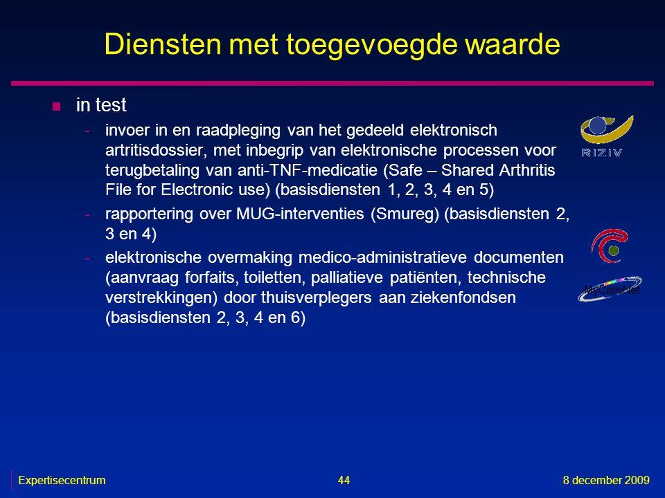 Expertisecentrum8 december 2009 44 Diensten met toegevoegde waarde n in test -invoer in en raadpleging van het gedeeld elektronisch artritisdossier, m