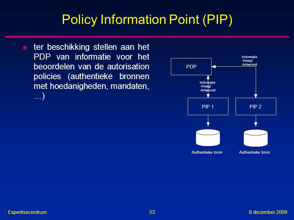 Expertisecentrum8 december 2009 53 Policy Information Point (PIP) n ter beschikking stellen aan het PDP van informatie voor het beoordelen van de auto